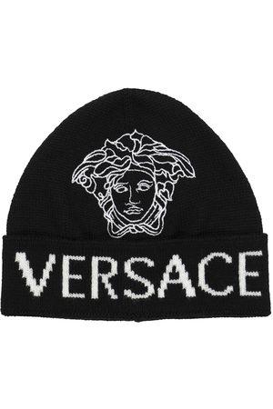 VERSACE Logo Jacquard Beanie aus Wolle