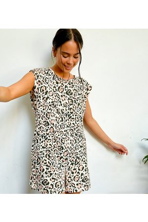 Noisy May – Exklusiver Playsuit mit Schulterpolstern und Leopardenmuster-Mehrfarbig