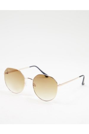 Jeepers Peepers – Runde Damen-Sonnenbrille in Gold-Goldfarben