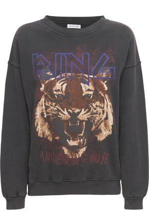 ANINE BING Sweatshirt Aus Baumwolle Mit Tigerfelldruck