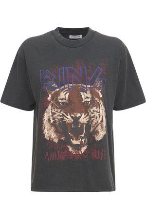 ANINE BING T-shirt Aus Baumwolle Mit Tigerdruck