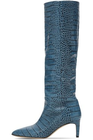 PARIS TEXAS Damen Stiefel - 60mm Hohe Stiefel Aus Leder Mit Krokoprägung