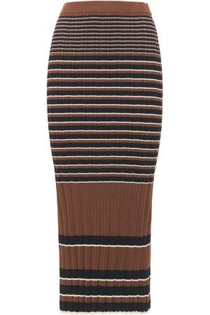THEORY Damen Bedruckte Röcke - Midirock Aus Baumwolle Mit Streifen