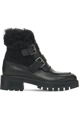 Aquazzura 50mm Ryan Leather & Shearling Boots