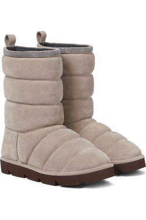 Brunello Cucinelli Verzierte Stiefel aus Veloursleder