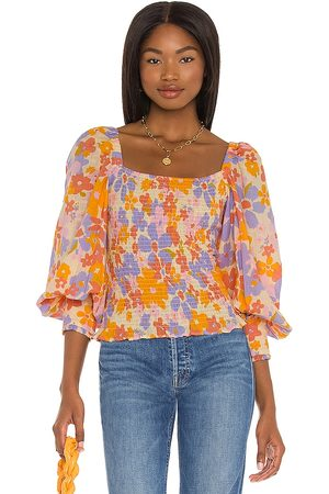 Free People Ariana Printed Top in ,Lavender. Size XS, S, M.