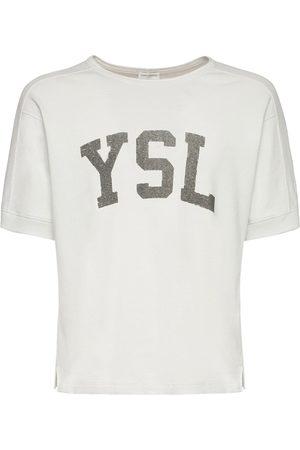 Saint Laurent T-shirt Aus Baumwolle Mit Logodruck