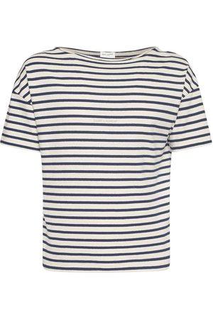 Saint Laurent Gestreiftes T-shirt Aus Baumwolle