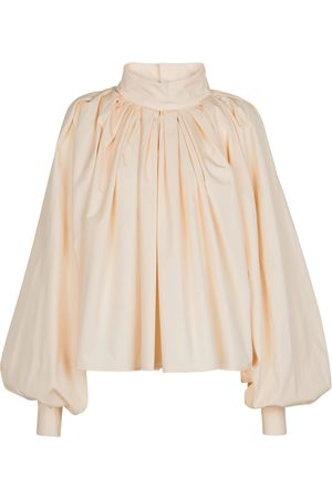 Jil Sander Plissierte Bluse aus Baumwolle