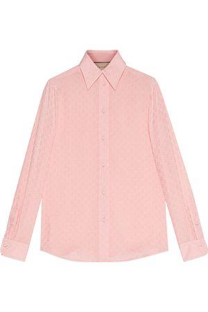 Gucci Damen Blusen - Hemdbluse aus Seiden-Crêpe mit GG