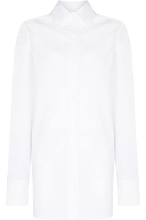 The Attico Langarmshirt mit V-Ausschnitt - 001 WHITE