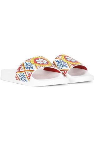 Dolce & Gabbana Mädchen Clogs & Pantoletten - Pantoletten mit Logo-Print
