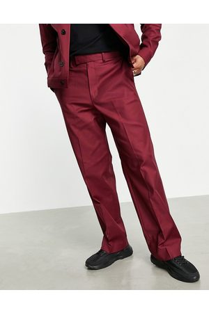 ASOS Herren Chinos - – Elegante Hose mit weitem Bein in Burgunderrot, Kombiteil