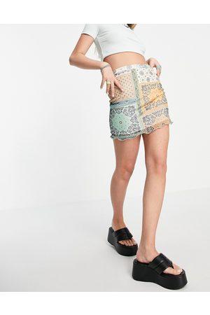 Daisy Street Damen Miniröcke - – Minirock aus Netzstoff mit gekräuseltem Saum und Patchwork-Design