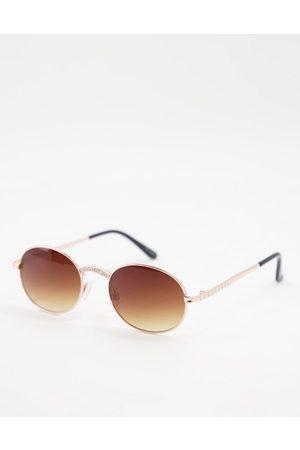 Jeepers Peepers Damen Sonnenbrillen - – Runde Damen-Sonnenbrille mit goldfarbenem Nasensteg und Bügeln