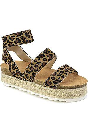 Nature Breeze Kacie Damen Sandalen mit geschlossener Zehenpartie, Beige (leopard)