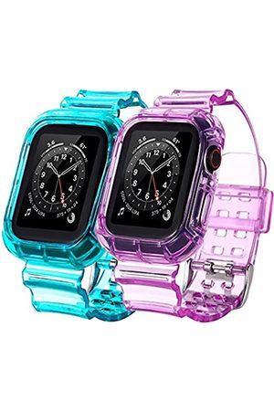 BNBIDEN Herren Uhren - [2 Pack] Armbänder kompatibel mit Apple Watch Bands 42 mm 44 mm für Damen und Herren, transparent, Sport