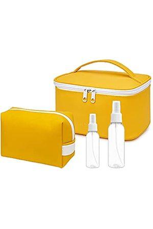 Generic Koffer - 2 wasserdichte Make-up-Tasche, 2 leere Sprühflaschen, Kosmetiktasche, PU-Leder, multifunktional, Make-up-Tasche, Reisetasche