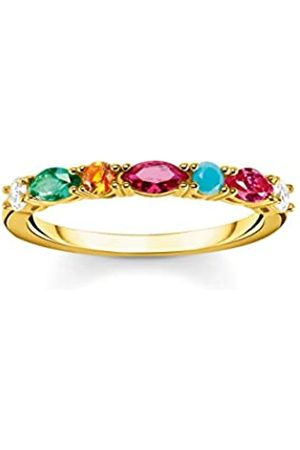 Thomas Sabo Ring, Größe 56, Glam & Soul, 925 Sterlingsilber, mit bunten Schmucksteinen besetzt, vergoldet
