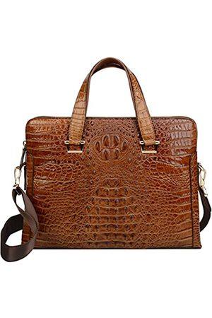 Ainifeel Herren-Aktentasche aus echtem Leder mit Krokodilprägung, 38,1 cm (15 Zoll) Laptoptasche für Business