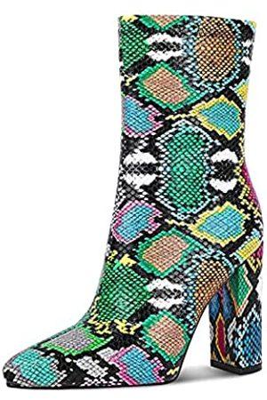 wetkiss Stiefeletten für Damen, Schlangenleder-Stiefeletten mit bequemen Absätzen, geeignete Größe für Stiefeletten, (J Color Schlange)