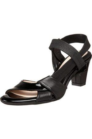 BeautiFeel Damen Camiille Open Toe Pumps, Schwarz (Kombination aus schwarzem Leder/Lack)