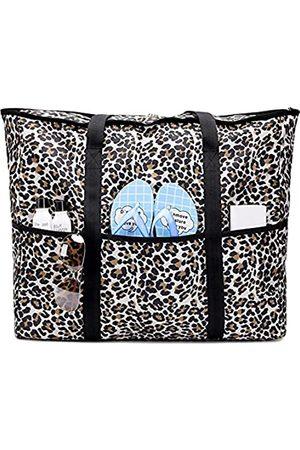 JIANYA Strandtasche, extra große Strandtasche, übergroße Strandtasche für Damen – 9 Taschen mit Reißverschluss, Mehrere (leopard)