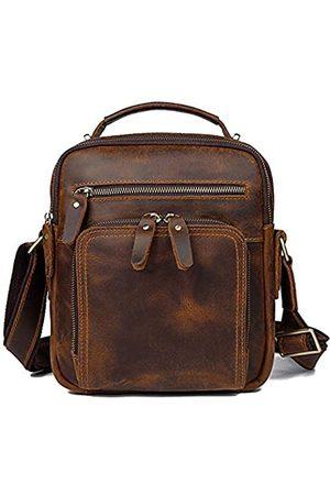 YOGCI Umhängetasche aus Leder für Herren, Vintage, Schultertasche, passend für Handy, Geldbörsen, Geldbörse, iPad