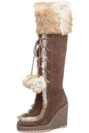 NAUGHTY MONKEY Free-Zing Damen Stiefel mit Keilabsatz, Braun (Schokoladenbraun)