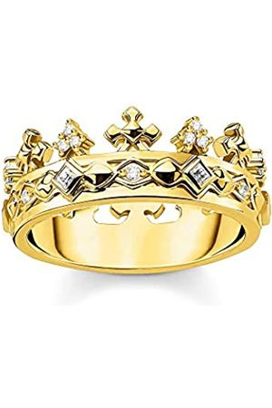 THOMAS SABO Damen Ringe - Ring mit Kronenmotiv, Größe 52, Glam & Soul, 925 Sterlingsilber, vergoldet
