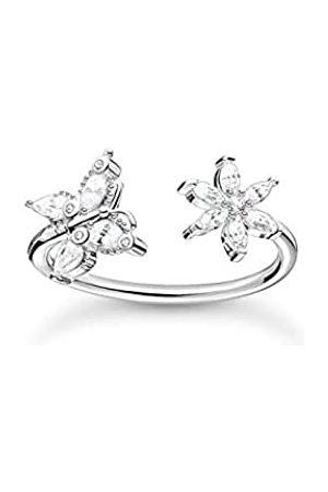 Thomas Sabo Offener Ring in, Schmetterling und Blüte mit Zirkonia Steinen, 925 Sterlingsilber, Ringgröße 54