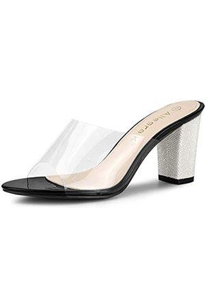 Allegra K Damen Glitzer Chunky Heel Clear Slides Sandalen