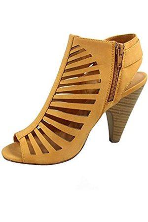Generic FZ-Shaky-s Damen Sexy Riemchen Peep Toe Slingback Schnalle Chunky Heel Sandalen Schuhe, (Mango)