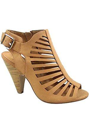 Generic FZ-Shaky-s Damen Sexy Riemchen Peep Toe Slingback Schnalle Chunky Heel Sandalen Schuhe, Beige (hautfarben)