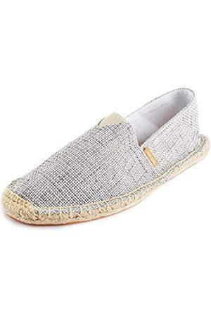 ALEXIS Damen Geschlossene Zehe Original Canvas Geflochten Seil Espadrille Schuhß (Wei)