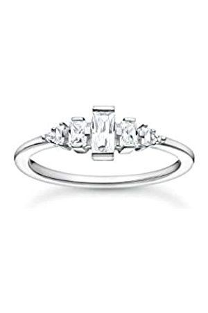 THOMAS SABO Ring mit Zirkonia Steinen in verschiedenen Größen und Formen, 925 Sterlingsilber, Ringgröße 52