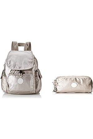 Kipling Damen City Pack Mini Rucksack (Metallic Glow) + Damen Gleam Münzbörse (Metallic Glow)