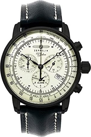 Zeppelin Unisex Chronograph Quarz Uhr mit Leder Armband 7680-3