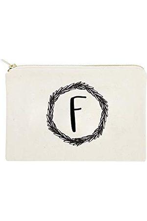 The Cotton & Canvas Co. Personalisierte Monogramm-Kranz-Kosmetiktasche und Reise-Make-up-Tasche