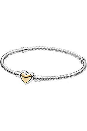 PANDORA Gewölbtes goldenes Herz-Verschluss-Schlangen-Gliederarmband, Sterling und 14k Gold, 16cm