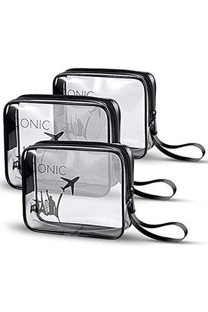 BrexLink ICONIC transparenter Kulturbeutel mit auslaufsicherer Silikonflasche für Damen und Herren, Shampoo, Lotion