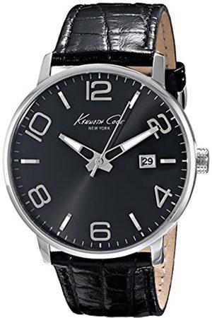 Kenneth Cole Herren Analog Quarz Uhr mit Leder Armband IKC8005_Negro
