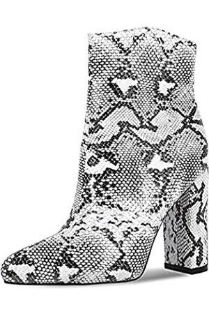 wetkiss Damen-Stiefeletten mit Schlangenleder-Aufdruck, knöchelhoch, Schlupfstiefel für Damen, Schlangenleder-Stiefel, Blockabsatz, (H-Schlangendruck)