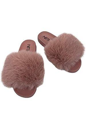 NITTI Damen Kunstpelz Slides   Offener Zehenbereich Niedliche Pelz Hausschuhe   Outdoor Indoor Bequeme Flache Sandalen, Pink (new pink)