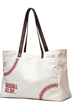 YHS Oversize Baseball Tote Shoulder Bag Embroidery Baseball seams Prints Utility Tote HandBag Cotton Canvas Sports Travel Stuff Beach for Women Men(X-large white)