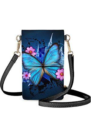 HUGS IDEA Touch Screen Geldbörse Crossbody mit Schultergurten für Damen Herren Mädchen Jungen, (Blauer Schmetterling)