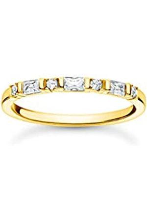 Thomas Sabo Schmaler Ring mit Zirkonia Steinen in Rund- und Baguette-Schliff, 750 Vergoldung, 925 Sterlingsilber, Ringgröße 52