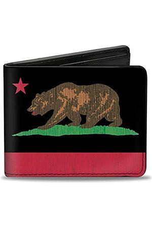 Buckle-Down PU Bifold Wallet – California Flag Bear Weathered Black