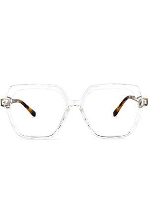 Zeelool Chic TR90 Geometrische Brille für Männer und Frauen mit nicht verschreibungspflichtigen klaren Gläsern Norah OT518836, Transparent (kristall)