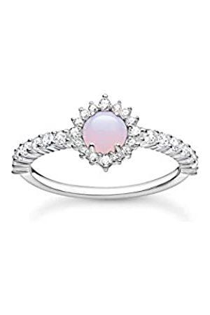 Thomas Sabo Cocktail-Ring mit opalfarbenem Stein und Zirkonia Steinen, 925 Sterlingsilber, Ringgröße 54